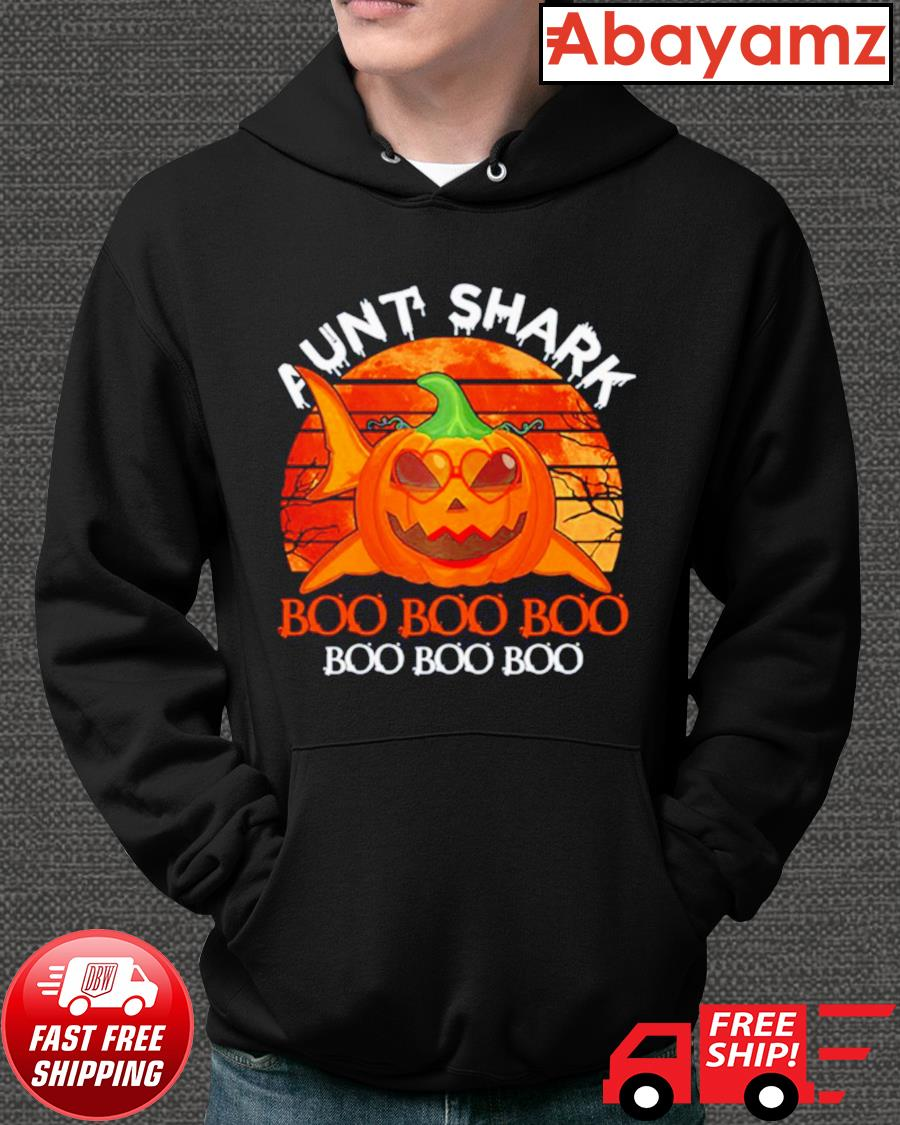 Aunt shark pumpkin boo boo boo Halloween vintage hoodie