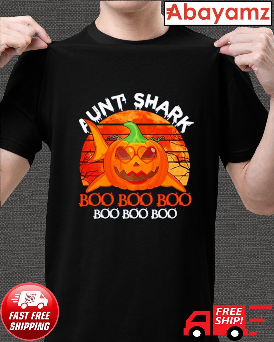 Aunt shark pumpkin boo boo boo Halloween vintage shirt